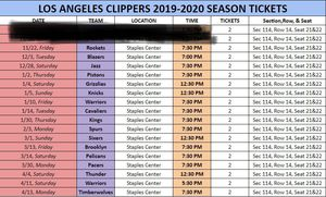 Clipper Season Tickets section 114 for Sale in Alhambra, CA