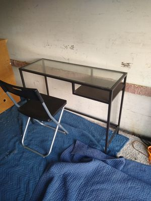 Glass top small computer desk with chair for Sale in San Diego, CA