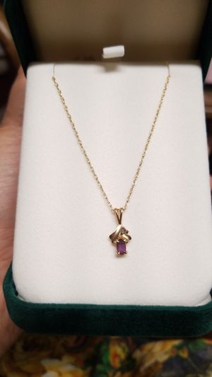 Beautiful 14k gold chain with AMETHYST and Daimond for Sale in Springfield, VA
