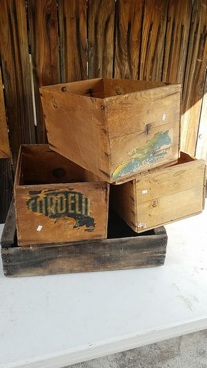 Antique wooden crates $20 for all four good used condition I'm located in Redlands for Sale in Redlands, CA