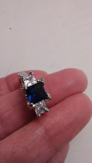 Size 8 blue and white sapphire, 18K heated layered gold and 925 sterling ring for Sale in Lombard, IL