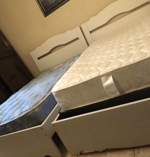 2 complete Twin bed frames and headboards, along with mattresses and box springs one nightstand all excellent condition for Sale in Miromar Lakes, FL