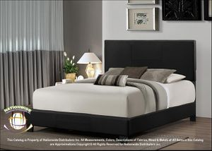 BRAND NEW Nationwide Furniture B502 Leather Platform Bed. Black. TWIN/FULL/QUEEN/KING for Sale in Hilliard, OH