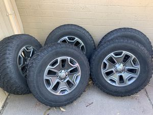 Jeep rubicon wheels rims tires for Sale in Phoenix, AZ