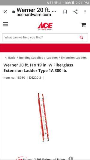 Werner 20 foot extension ladder for Sale in Lugoff, SC
