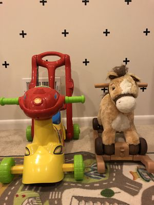 Rocking horse and ride on bike toys for Sale in NO POTOMAC, MD