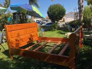 Wood bed frame for Sale in Lompoc, CA
