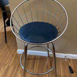 "metal chrome blue cushion barstool 24"" for Sale in Portland, OR"