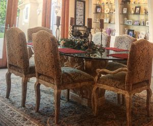 Beautiful dining room, race track beveled glass top with 6 chairs. No cracks or breaks. Perfect condition for Sale in Whittier, CA