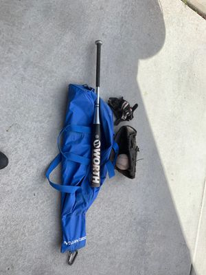 Softball bat bag glove and batting gloves for Sale in Las Vegas, NV