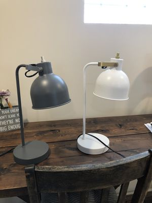 Gray or white desk lamp $14/each for Sale in Lombard, IL