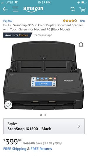 Fujitsu ScanSnap iX1500 Color Duplex Document Scanner with Touch Screen for Mac and PC (Black Model) for Sale in Woodbridge Township, NJ