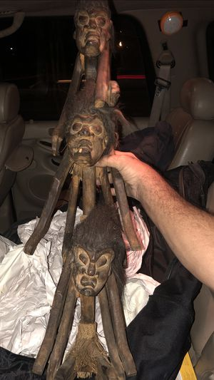 Hand-carved Tribal African Kayaker Statue for Sale in Phoenix, AZ