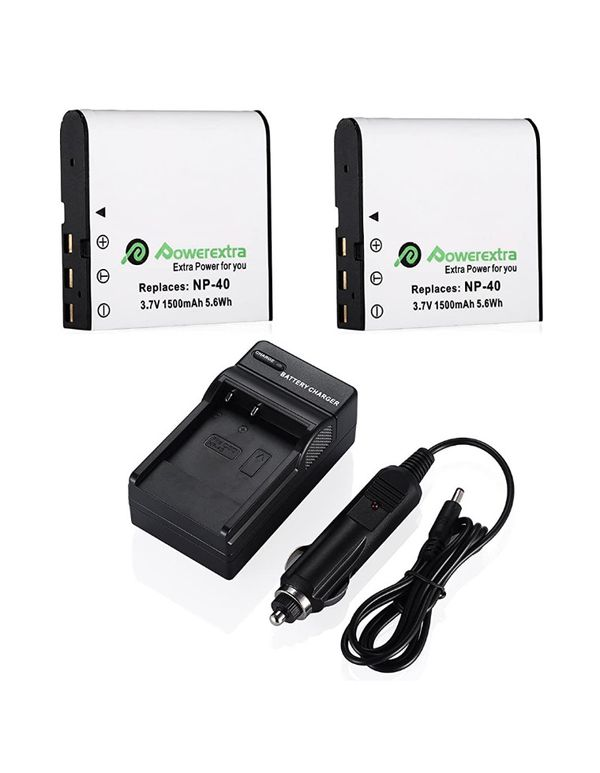 Powerextra 2 x NP-40 Battery and Charger