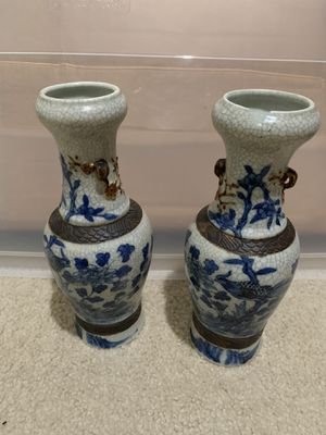 2 Chinese blue and white crackle glaze vases with iron brown. 4 character Kangxi mark but is end of Qing dynasty.. for Sale in Elkridge, MD