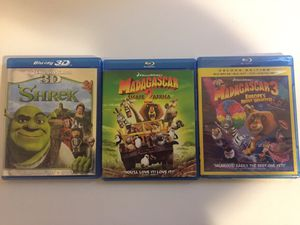 Shrek and Madagascar blu Ray discs movies for Sale in Newport News, VA