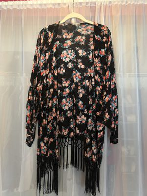 Black floral shawl with fringe for Sale in Perkasie, PA