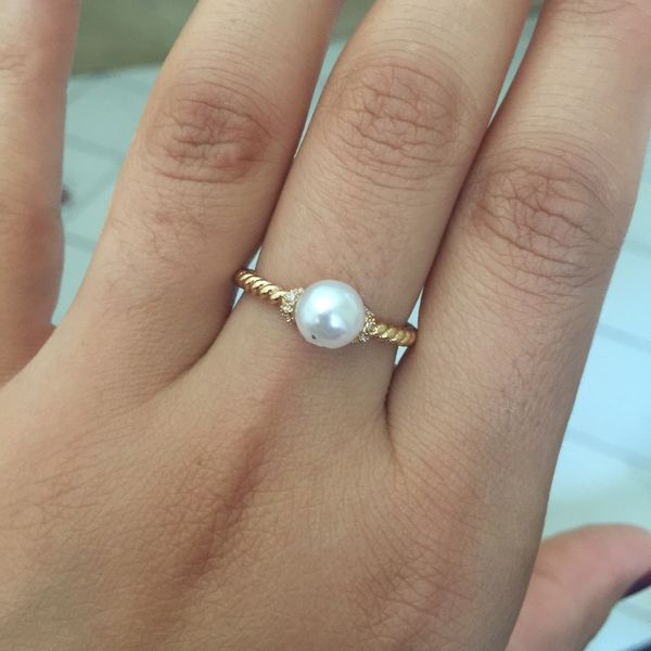 18k gold plated pearl ring women's jewelry accessory size 8