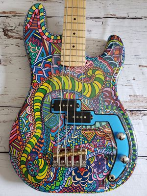 Eric Rifftone #115 Insanity Handpainted P-bass Style Electric Bass Guitar for Sale in Stafford Township, NJ