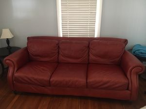 Red leather couch for Sale in Arlington, VA