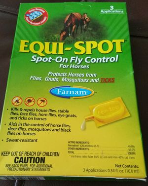 EQUI-SPOT SPOT-ON FLY CONTROL KILLS & REPELS HOUSE, STABLE, & FACE FLIES PLUS MORE for Sale in Hampton, VA
