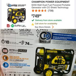 CHAMPION POWER EQUIPMENT 6250-Watt Dual-Fuel Powered Portable Generator with CO Shield Technology for Sale in Bell Gardens, CA