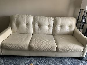 Off white leather couch for Sale in Houston, TX