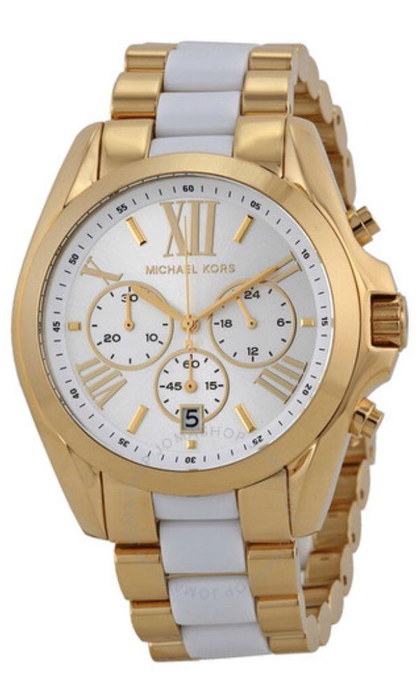 MICHAEL KORS Bradshaw Chronograph White Dial Two-tone Ladies Watch (MK5743)