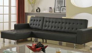 BRAND NEW Leather Black Reversible Sectional Futon! DELIVERY INCLUDED!!! for Sale in Dallas, GA