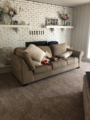 Sectional couch suede for Sale in Madera, CA