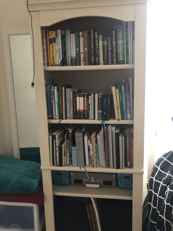 2 Beautiful White study bookshelves