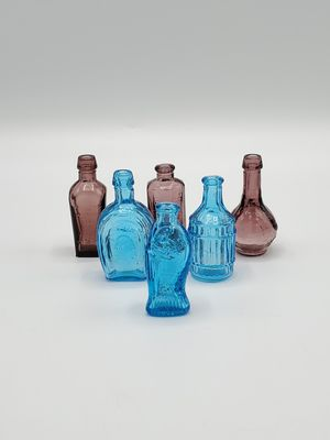 Vintage 1970's Apothecary Minature Glass Bottles (Set of Six) for Sale in DeKalb, IL