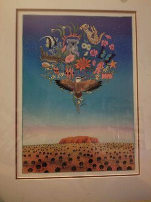 """""""Australian Dreams""""... by Joanne Hook ... in a 15"""" x 18"""" brass frame. for Sale in Minneapolis, MN"""