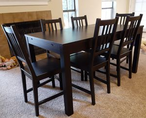 IKEA Bjursta extendable Black dining table with 6 chairs for Sale in Houston, TX