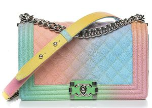 AUTHENTIC CHANEL LIMITED EDITION RAINBOW QUILTED CAVIAR MEDIUM BOY FLAP BAG for Sale in Lexington, SC
