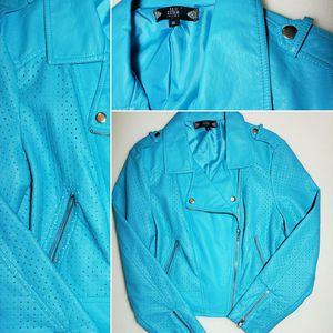 VIBRANT BLUE Vintage Tru Luxe Biker Style Jacket for Sale in Dallas, TX