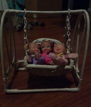 Wicker swing& e Tumblelina babies for Sale in Rio Vista, CA