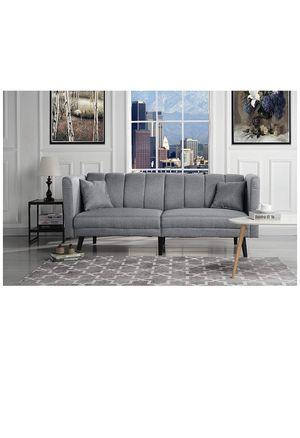 Sofamania Mid Century Modern Plush Tufted Linen Fabric Living Room Sleeper Futon (Light Grey) for Sale in Jonesboro, GA
