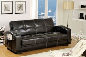 Black leather adjustable futon sofa bed couch for Sale in Downey, CA