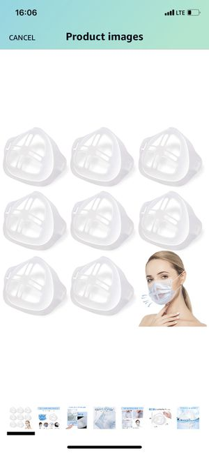 8Pcs 3D Mask Bracket Comfortable Breathing Protect Lipstick Washable Reusable, Inner Cool Support Face Frame Keep Fabric off Mouth to Create More Bre for Sale in Queens, NY