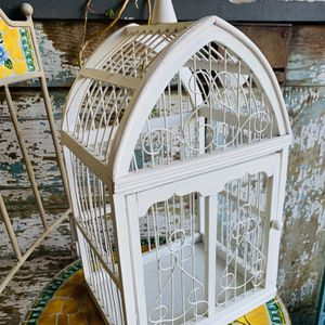 "Shabby White Wood Birdcage 20"" Tall for Sale in Mount Hamilton, CA"