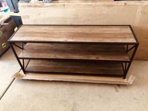 26 in. Rustic Oak/White Metal 3-shelf Etagere Bookcase with Open Back for Sale in Las Vegas, NV
