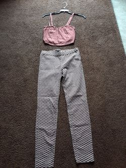 H&M WOMANS SIZE 2 PANTS ,AND SIZE SMALL CROP SHIRT .I HAVE MANY MORE CLOTHES for Sale in Riverside,  CA
