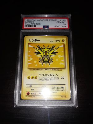 Pokemon Zapdos Japanese ANA All Nippon Airlines PSA10 GEM Mint for Sale in Queens, NY