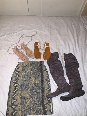 Snake skirt/glitter sandals/ thigh high grey boots/ lace up flats for Sale in Phoenix, AZ