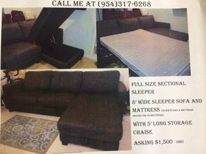 Sleeper Sofa with Storage Chaise Dark Grey Tweed Material for Sale in Fort Lauderdale, FL