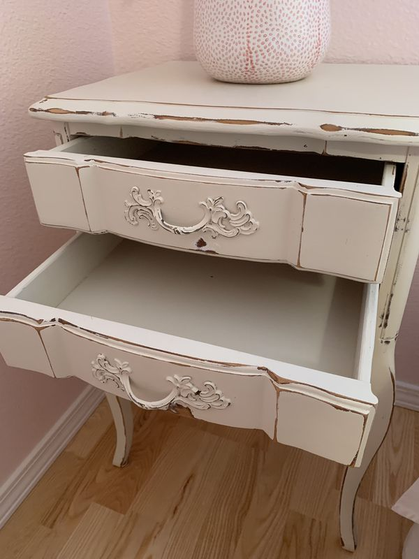 Shabby Chic Ivory Nightstand or Side Table