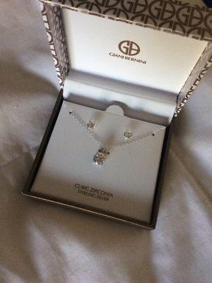 New sterling silver necklace and earrings with cubic zirconia for Sale in Gardena, CA
