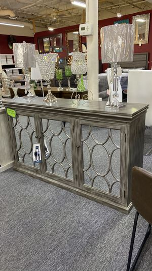 Accent Table Console Table with Mirrored Cabinets and Shelving inside Q for Sale in Euless, TX
