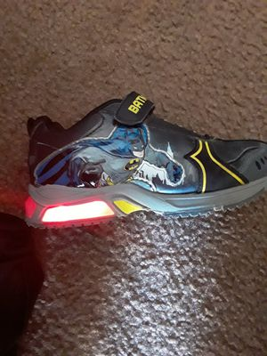 Size 1 boys batman shoes with light for Sale in Los Angeles, CA